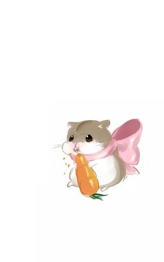 可爱小仓鼠手绘手机壁纸