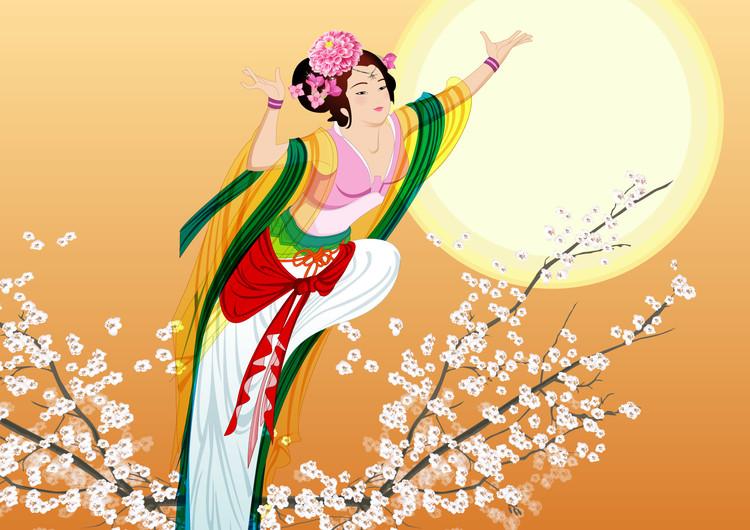 手绘中秋节嫦娥壁纸