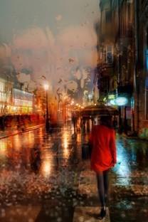窗户上滑落的唯美雨滴壁纸