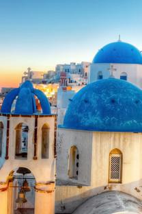 希腊圣托里尼唯美蓝色壁纸
