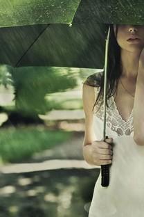 下雨天雨中美女图片壁纸1