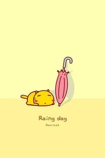 哈咪猫下雨天卡通图片壁纸