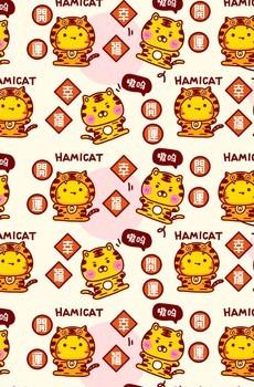 国潮哈咪猫虎卡通图片壁纸