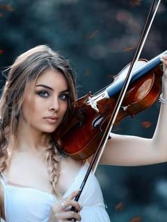 拉小提琴唯美美女图片壁纸