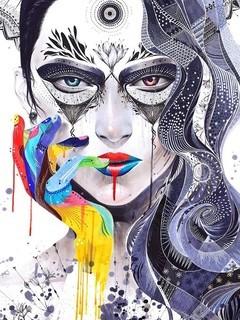抽象线条人物头像壁纸