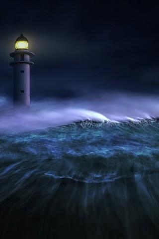 海啸中的灯塔图片壁纸