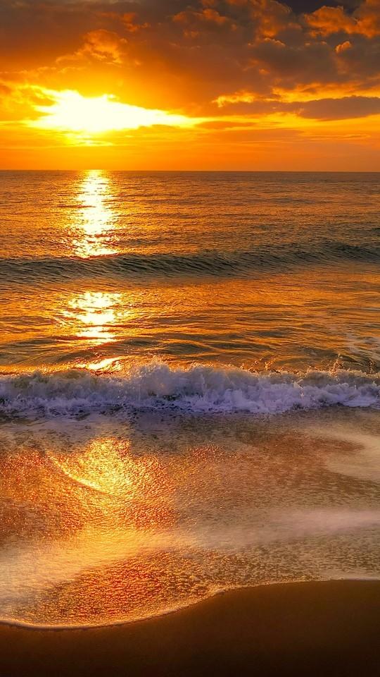 海滩落日高清图片壁纸