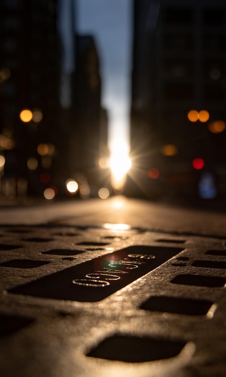 夜晚的灯光城市街道图片壁